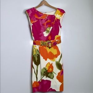 MAGGY L • Bright Floral Belted Neck Drape Dress